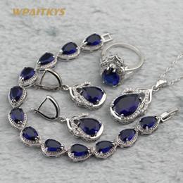 Dark Blue Wedding Jewelry Sets - Wholesale Water Drop AAA Zircon Silver Plated Necklace Earrings Ring Bracelet For Women Rings Size 6-10
