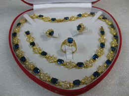 14k Yellow gold blue sapphire necklace bracelet ring set
