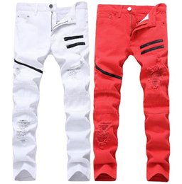 2018 New Europe and America Men's zipper leisure jeans white red holes decoration multi chain no stretch straight man men's clothing