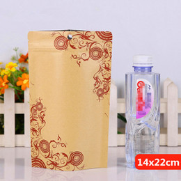 14x22cm printing stand kraft paper laminating aluminum foil ziplock packaging bags mylar food tea baking reusable heat sealing package pouch