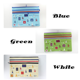 Zipper Bag A4 Double Layers ZipperPouch Clear Storage Bags Office Document Bags Document File Pocket, Paris Colour Random