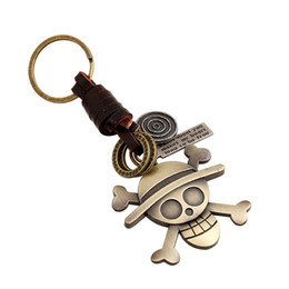 China wholesale Retro braiding bag pendants Alloy Skull key chains Genuine leather bag pendant Punk cowhide keychain