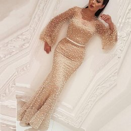 Plus Size 2019 Beaded Pearls Arabic Champagne Evening Dresses Long Sleeve Middle East Kaftan Formal Party Dresses Abiye Gowns Robe De Soiree