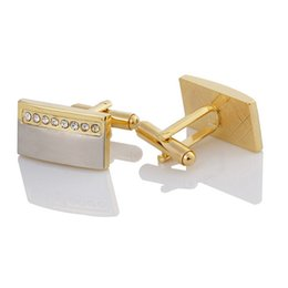 New gold plated two-color white crystal French cufflinks gold brushed men's cufflinks business wedding