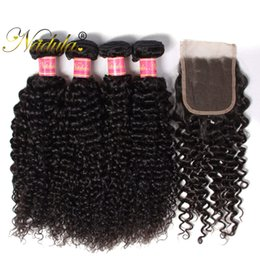 Nadula Brazilian Curly Hair 3-4Bundles With 1Free Lace Closure Human Hair Wefts With Lace Closure Human Virgin Hair Weave 20Pcs Wholesale