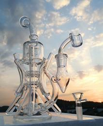 New arrival Double Recycler Bong Glass bong water pipe oil rig with 14.4mm quartz banger oil burner hookahs