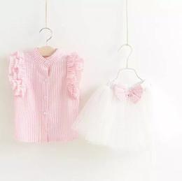 2017 baby girl summer clothes sets infant toddler girl fly sleeve T-shirt+bowknot tutu skirt children korean style clothing