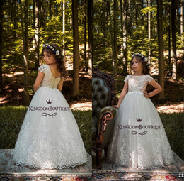 Lace Backless Cheap Flower Girl Dresses Cap Sleeves Baby Girl Birthday Party Christmas Communion Dresses Children Party Dresses