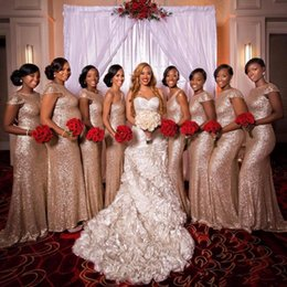 2017 Rose Gold Sequined Long Bridesmaid Dresses Jewel Short Capped Sleeves Mermaid Party Gowns Back Zipper Sweep Train Custom Made 2018