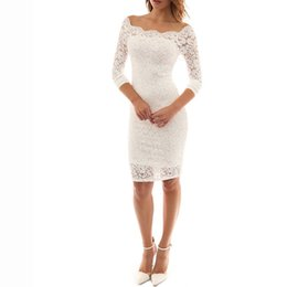 Lace sexy dress European and American new style fashion women's a word collar long sleeves hip lace sexy dress