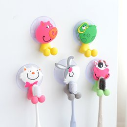 Toothbrush holders with suction cup cartoon animal cat rabbit pig sucker suction hooks bathing accessories 5 styles