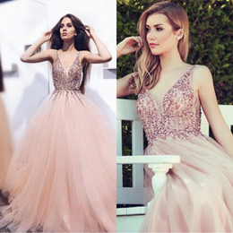 2018 Luxurious Blush Pink A-line Arabic Evening Dresses V-neck Tulle Beaded Sequins Special Occasion Dresses Middle East Prom Dresses