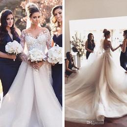 Vestidos De Noiva A Line Wedding Dresses Sheer Crew Neck Illusion Long Sleeve Sweep Train Tulle Applique Lace Beads Arabic Wedding Gowns
