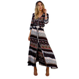 Women M-3XL Beach Boho Maxi Dress Summer High Quality Brand V-neck Print Vintage Long Dresses Feminine Plus Size