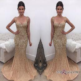 Luxury Sparkly Elegant Straps Crystal Mermaid Prom Dresses 2018 New Arrival Gold Evening Dress Online Formal Wear