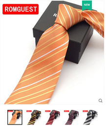 Wholesale-YIBEI Ties Orange Knot Contrast Yellow With Oranges Stripes Necktie SKINNY Tie gravata