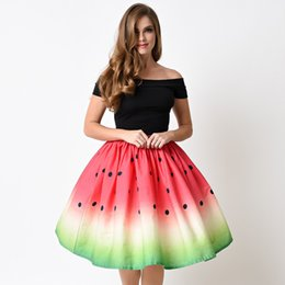 2018 Hot Sell Spring and Summer Novelty Women Skirts Euramerica College Style Puff Printing Watermelon Polyester Bubble Skirt Faldas