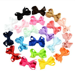2.4 Inch Boutique Small Bows with Clips Baby Girls Hair Clips Solid Color Ribbon Bow Knot Barrettes Childrens Hairpins Hair Accessories