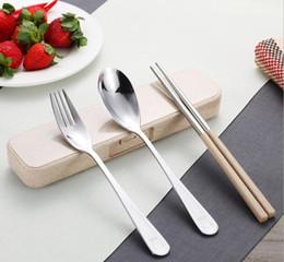 High Quality ECO Friendly Dinnerware Sets 304 stainless Steel Flatware Cutlery Set Chopsticks Spoon Fork Tableware Box Set