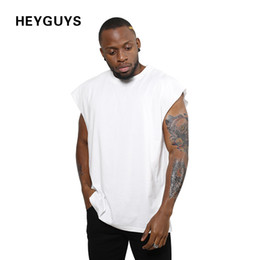 2018 HEYGUYS new design sleeveness fashion hip hop plain plus short sleeve T shirt brand men t-shirt no sleeve over size men hip hop