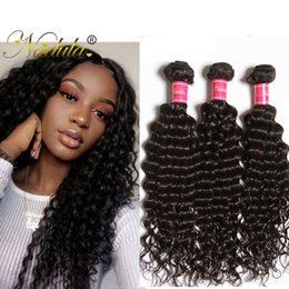 NadulaHair 3Bundles with Closure Deep Wave Peruvian Remy Human Hair Extensions Unprocessed 100% Cheap Human Hair Products Wholesale Weave