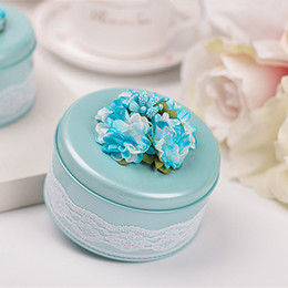 2019 New Wedding Candy Favors Round Metal Boxes with Beautiful Lace Floral Special Candy Boxes for Guests Best Party Favors High Quality
