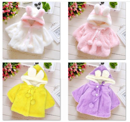 Baby Girls 2 Pom Pom Faux Fur Coats 2018 Winter Kids Boutique Clothing Little Girls Outerwear Kids Hoodie fur Coats Hot Sale