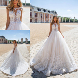 2019 Sheer Backless Wedding Dresses A Line Sexy Illusion Appliques Cap Sleeves Sweep Train Bridal Gowns Custom Made