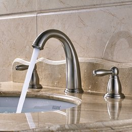 New Design Classic Brushed Nickel Brass Deck Mount Basin Sink Faucet Waterfall Spout Two Handles Cold Hot Water Mixer Tap