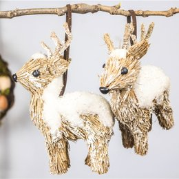 "H5"" Set of 3 Christmas Tree Decorations Home New Year's Decor Xmas Snow Deer Wedding Party Ornament Straw Craft Natal Reindeer"