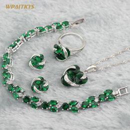 Green Women's Wedding Jewelry Sets - Wholesale Round AAA Zircon Silver Plated Pendant Necklace Earrings Ring Bracelet For Women Size 6-10