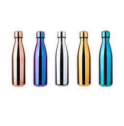 Cola water bottle 500ml travel bottle double wall stainless steel coke shape outdoor vacuum thermal insulation bottle electroplate 17oz