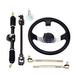 42CM Set of Go Kart Steering Wheel Assembly 110CC Tie Rod RACK Adjustable Shaft Great