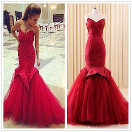Colorful Arabic Fishtail Evening Dresses Length Meester Celebrity 2019 Plus Size Custom Made Wine Red Burgundy Flouncing Mermaid Vestidos