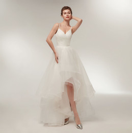 Elegant Summer Wedding Dresses With Straps Sexy V Neck Hi Lo Wedding Gown 2018 Bridal Dress Custom Made Tulle Dress