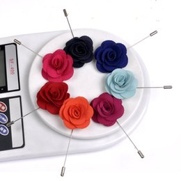 High Quality Camellia Flower Lapel Pin Brooch Handmade Flower Brooch Pin for Men 7 colors availab 100 pieces  lot