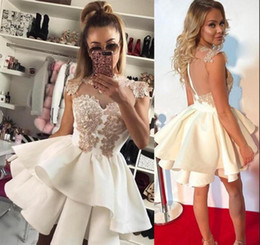 Tiered Short Homecoming Dresses Sexy Sheer Back Zipper Mini Formal Party Dress Cocktail Dress Club Wear Cheap Mini Girl Prom Graduation Gown