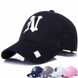 Hot Sale 1Piece Baseball Cap Solid color leisure hats with N letter embroidered for men and women
