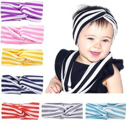 Baby Girls Cotton Strip Bow Headbands Infant Kids Elastic Cross Head bands Hairbands Children Hair Accessories Headwear Free Shipping KHA368