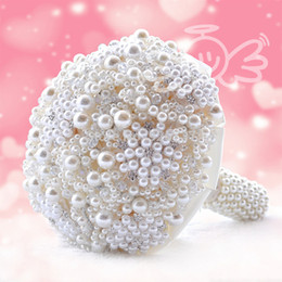 2018 Newest Pearls Artificial Bouquet Handmade Crystal Ivory Brooch Bouquet New Wedding Flowers Bridal Bouquets