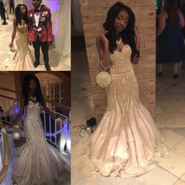 African Mermaid Prom Dresses 2018 Sequined Shinning Sweetheart Backless Evening Gowns Count Train Saudi Arabic Dress