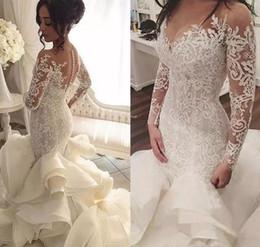 Tiered Ruffles Organza 2019 Sheer Long Sleeves Mermaid Wedding Dresses Illusion Neck Appliques Lace Bridal Gowns Plus Size vestido de noiva