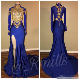 2019 African Royal Blue Long Sleeve Gold Lace Prom Dresses Mermaid Satin Applique Beaded High Neck Backless Court Train Prom Party Gowns