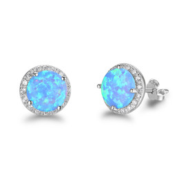 2019 jewelry new year Christmas presents pure 925 sterling silver rhodium plated blue opal earring jewelry Chinese love
