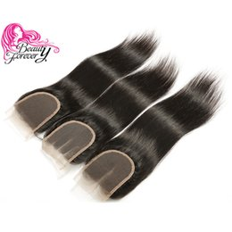Beauty Forever 8A Malaysian Silk Straight Lace Closure 10-20inch Unprocessed 4*4 Top Closure Natural Color Human Hair Lace Closure Wholesale