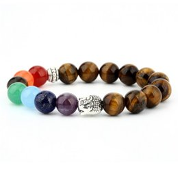 Buddha head bracelets for women natural red onyx tiger eye stone women chakra bracelet rock punk
