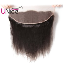 """UNice Hair Ear to Ear Peruvian Straight Lace Frontal 13""""x4"""" Free Part Lace Closure Unprocessed Human Hair Wholesale Cheap Silk Top"""