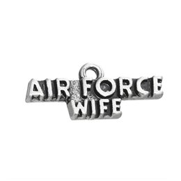 Antique Silver Plated Air Force Wife Alloy Letter Charms Vintage Message Jewelry Finding Charms 11*25mm AAC1155