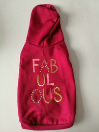 pet fleece hoodie in dark red, fabulous print and sequined embroidery