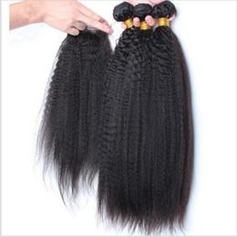 8A Brazilian Kinky Straight Hair Weave With Closure Human Hair Lace Closure With 3 Bundles Italian Coarse Yaki Virgin Hair With Top Closures